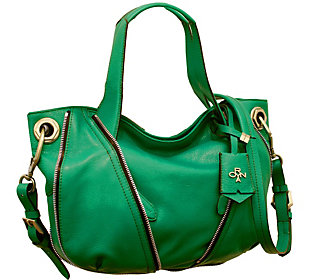As Is orYANY Pebble Leather Color-Block Lian Satchel