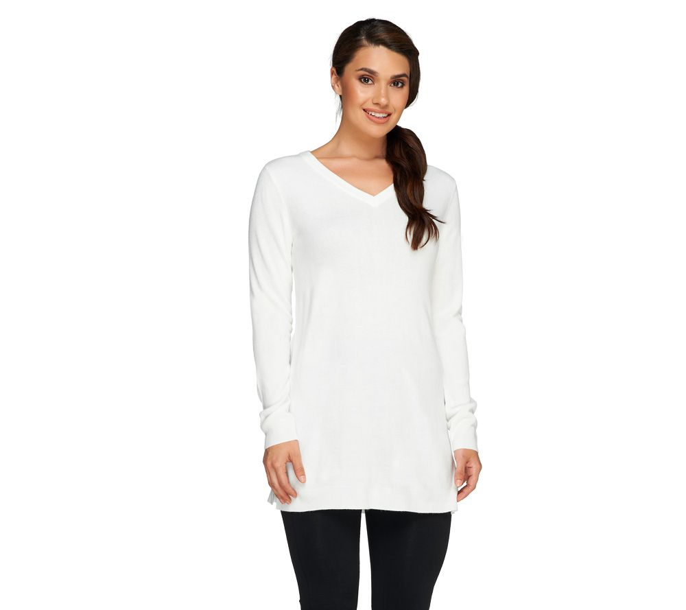 Susan Graver Plush Knit V-Neck Long Sleeve Sweater - A258624