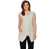 LOGO by Lori Goldstein Slub Knit Vest with Zip Front Closure - A261124