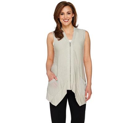logo by lori goldstein slub knit vest with zip front closure qvc com