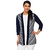 Susan Graver Striped Liquid Knit 3/4 Sleeve Cardigan - A261924