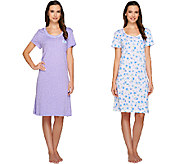 Carole Hochman Set of 2 Printed Short Sleeve Sleepshirts - A262424
