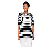 Susan Graver Weekend Striped Cotton Modal Elbow Sleeve Top - A263024