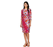 Bob Mackies 3/4 Sleeve Paisley Floral Printed Knit Dress - A263724