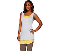 LOGO by Lori Goldstein Petite Heather and Solid Knit Tank Twin Set - A265624