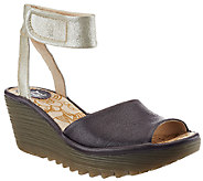 Fly London Leather Wedge Sandals with Ankle Strap - Yula - A266424