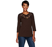 Quacker Factory Copper Crush Embroidered Animal Print Novelty T-shirt - A267224
