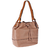 Isaac Mizrahi Live! Nolita Pebble Leather Bucket Bag - A267724