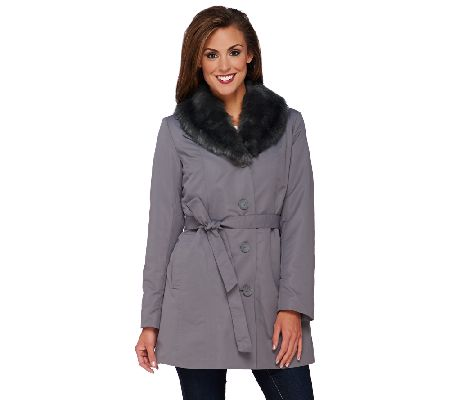 Dennis Basso Coat with Removable Faux Fur Collar & Liner