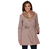 Dennis Basso Coat with Removable Faux Fur Collar and Liner - A267824