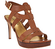 As Is Marc Fisher Leather Strappy Heeled Sandals - Vachella - A270124