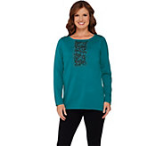 Bob Mackies Beaded and Embroidered Sweater Knit Top - A271124