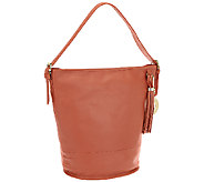 As Is Isaac Mizrahi Live! Bridgehampton Leather Bucket Hobo - A272024