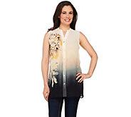 As Is Susan Graver Printed Sheer Chiffon Sleeveless Shirt - A274824