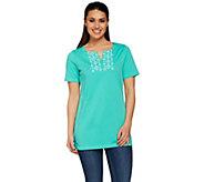 Denim & Co. Short Sleeve V-neck Tunic w/ Neckline Embroidery - A277624