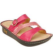 As Is Alegria Leather Slide Triple Strap Sandals - Colette - A280624