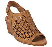 As Is Earth Leather Wedge Sandals with Cut Out Details - Cascade - A281824
