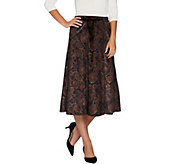 Susan Graver Printed Stretch Velvet Pull-On Skirt - A282924