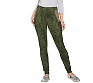 LOGO by Lori Goldstein Printed Leggings with Faux Suede Trim - A283024