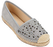 As Is Franco Sarto Suede Slip-On Espadrilles w/ Studs- Twilight - A283824