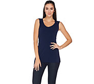 Susan Graver Essentials Liquid Knit Sleeveless Top with Shirring - A286324