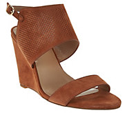 As Is H by Halston High Wedge Suede Sandals - McKenzie - A286524