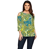 Susan Graver Printed Liquid Knit Cold Shoulder Top - A286724