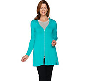 H by Halston Zip Front Boyfriend Cardigan w/ Side Slits - A287124