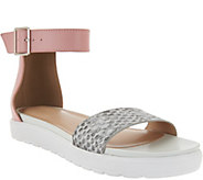 As Is LOGO by Lori Goldstein Leather Ankle Strap Footbed Sandals - A287224