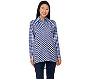 Joan Rivers Gingham Boyfriend Shirt with Hi-Low Hem - A287724