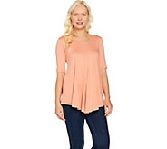LOGO by Lori Goldstein V-Neck Swing Top with Pockets - A288024