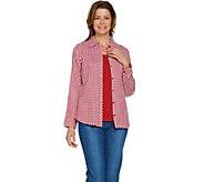 Denim & Co. Woven Gingham Button Front Shirt & Knit Tank Top Set - A288724