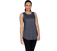 LOGO Lounge by Lori Goldstein French Terry Striped Tank w/ Rib Details - A289524