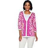 Bob Mackies Floral Printed Button Front 3/4 Sleeve Knit Cardigan - A292324
