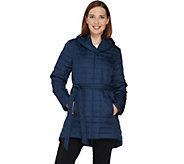 As Is H by Halston Quilted Down Water Repellant Shawl Collar Coat - A293124