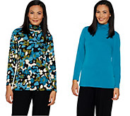 Susan Graver Set of 2 Print and Solid Liquid Knit Turtlenecks - A299924