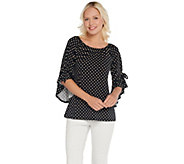 Attitudes by Renee Como Jersey Dot Flounce Flutter Sleeve Top - A301324