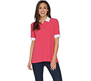 Susan Graver Textured Liquid Knit Polo Shirt - A302624