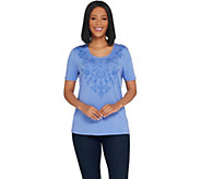 Susan Graver Weekend Stretch Cotton Modal Top with Embroidery - A304024