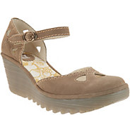 FLY London Leather Ankle Strap Wedges - Yuna - A304924
