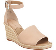 Enzo Angiolini Leather Espadrille Wedges - Petrina - A305624