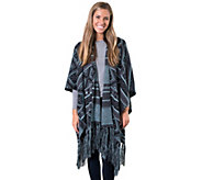 MUK LUKS Womens Knit Fringe Ruana - A355924