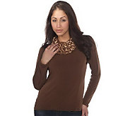 George Simonton Milky Knit Top w/ Animal Print Cowl Hood - A204225