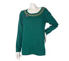 Quacker Factory Sweater with Simulated Pearl Necklace & Brooch Design