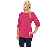 Susan Graver Weekend Brushed French Terry Roll Tab Sleeve Top - A220425