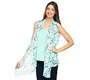 Susan Graver Crinkled Sheer Chiffon Printed Vest w/ Liquid Knit Tank - A222525