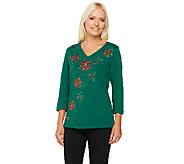 Quacker Factory Holiday Fun Motifs 3/4 Sleeve T-shirt - A228725