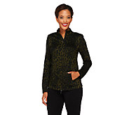 Linea by Louis DellOlio Animal Jacquard Zip Front Jacket - A230025