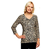 Susan Graver Weekend Printed Cotton Nylon V-Neck Sweater - A237825