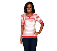 Denim & Co. Active French Terry Short Sleeve Striped Top - A253625